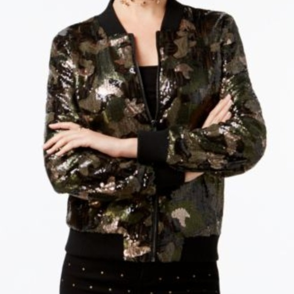 2ba05c239ee77 Say What? Jackets & Coats | Womens Say What Camo Sequined Bomber ...